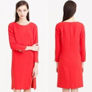 J. CREW | Red Zip Shift Dress